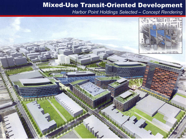 This rendering shows a proposed mixed-use, transit-oriented development around Penn Station by Baltimore-based Beatty Development.