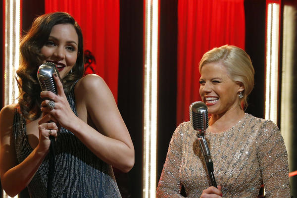 "Katharine McPhee, left, and Megan Hilty on the set of ""Smash,"" which may be headed toward its final act."