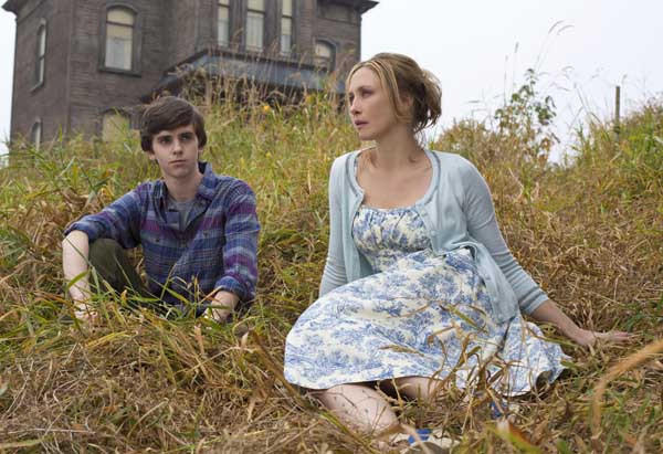 "Freddie Highmore and Vera Farmiga in the new A&E series ""Bates Motel."""
