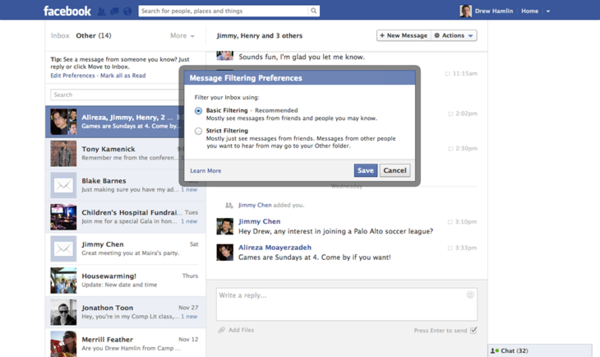 "Facebook now has messaging filter preferences for users: basic and strict. The filters determine which messages show up in users' inboxes and which show up in the ""other"" folder."