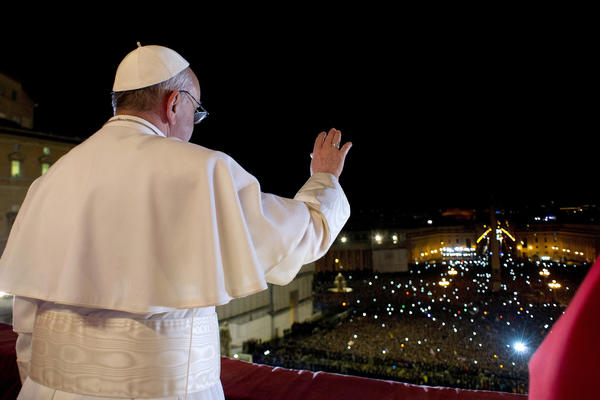 Newly elected Pope Francis I appears on the central balcony of St Peter's Basilica on Wednesday.