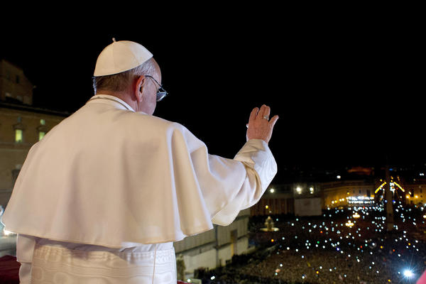 Newly elected Pope Francis appears on the central balcony of St Peter's Basilica in Vatican City. Argentinian Cardinal Jorge Mario Bergoglio was elected as the 266th Pontiff and will lead the world's 1.2 billion Catholics.