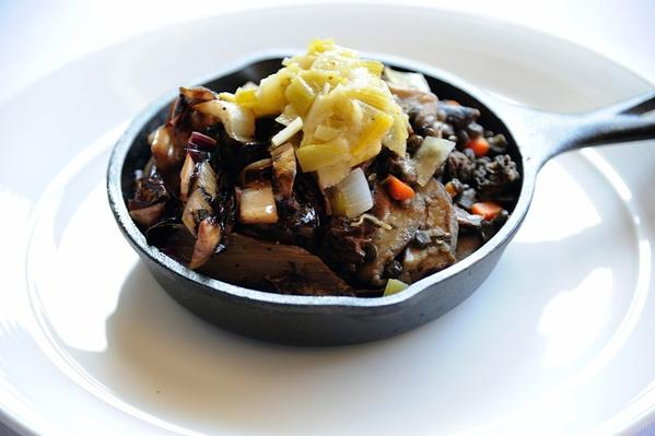Cassoulet with French lentils, grilled treviso, wild mushrooms and leeks.