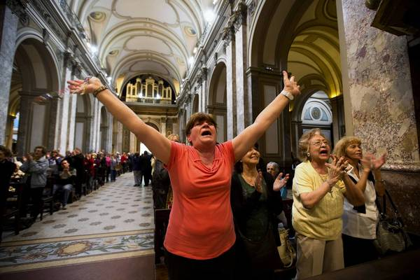 At the Metropolitan Cathedral in Buenos Aires, news that Argentine Cardinal Jorge Mario Bergoglio was elected the new pope is cause for celebration.