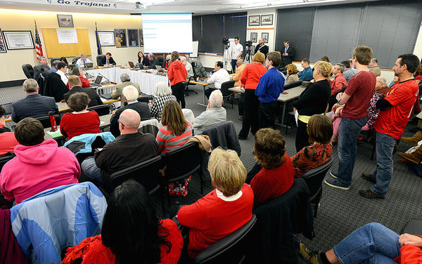The Chambersburg Area School Board meeting drew a large crowd Wednesday night as the board removed an assistant superintendent from her role despite public outcry for her to remain in the position.