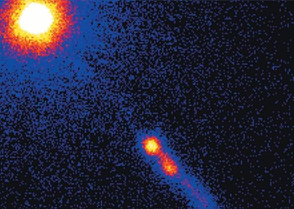 X-ray observations of quasar 3C273, first discovered by Caltech astronomer Maarten Schmidt. The quasar shoots out a jet of plasma blobs that appear to fly faster than the speed of light.