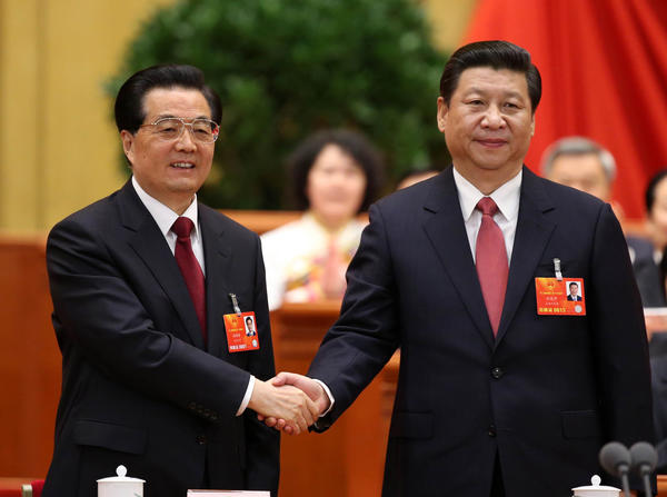 China's Hu Jintao and Xi Jinping