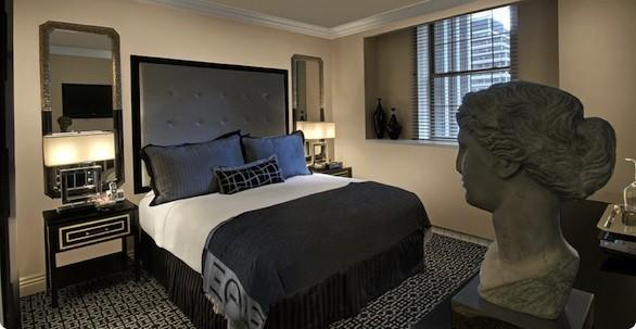 A room with king-sized bed at the Muse New York.