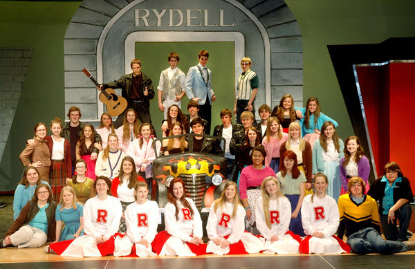"The Boyne City High School drama department''s ""Grease"" cast assembles for a photo during a recent rehearsal. The musical opens Saturday."
