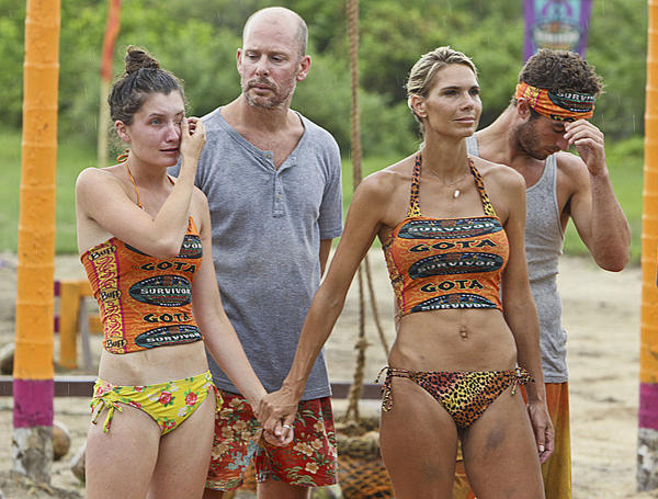 "L-R: Julia Landauer, Michael Snow, Sherri Biethman and Edward ""Eddie"" Fox of the Gota Tribe during the fifth episode of ""Survivor: Caramoan."""