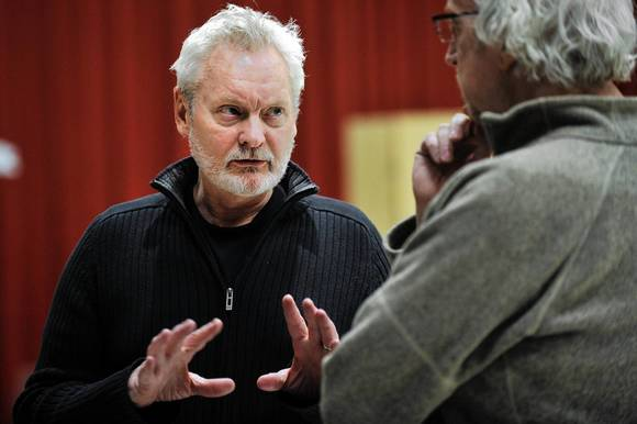 "John Judd (Escalus) with director Robert Falls in rehearsal for ""Measure for Measure."""