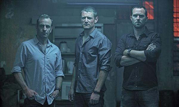 "Robson Green, Philip Winchester and Sullivan Stapleton in a scene from ""Strike Back."""