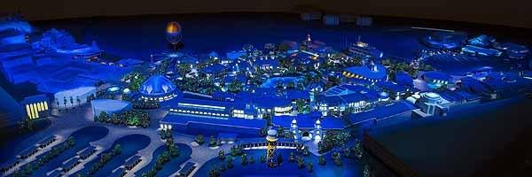 A conceptual model shows planned changes to Downtown Disney announced on March 14, 2013. The entire district will be