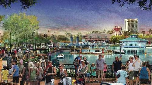 A rendering shows planned changes to Downtown Disney announced on March 14, 2013. In this photo is Marketplace, which will be updated with an over-the-water pedestrian causeway. The entire district will be renamed Disney Springs and be a multi-year transformation doubling the number of shopping, dining and entertainment options.