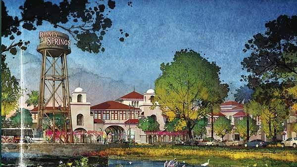 This rendering shows planned changes to Downtown Disney announced on March 14, 2013. To be renamed Disney Springs, it will feature a new gateway with a signature water tower and grand entry.
