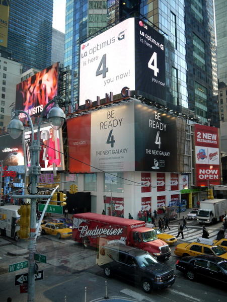 In New York's Times Square, LG is trying to upstage Samsung's Galaxy S4 marketing.