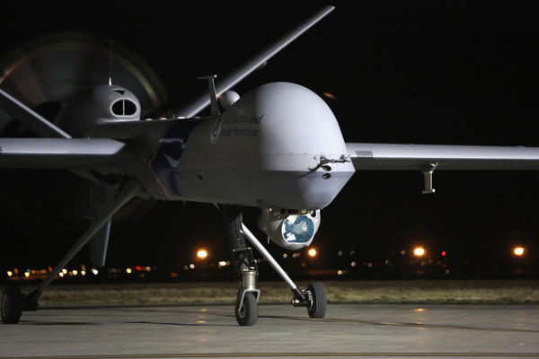 A Predator drone operated by U.S. Office of Air and Marine taxis towards the tarmac for a surveillance flight near the Mexican border.