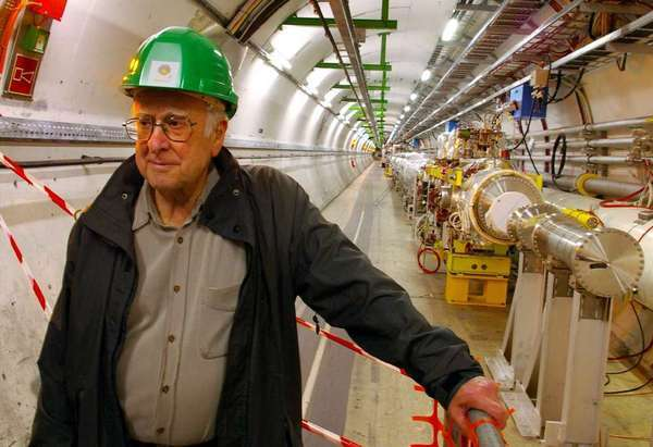 Theoretical physicist Peter Higgs at the Large Hadron Collider in 2008.
