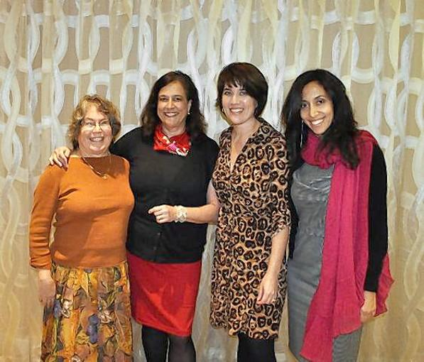 "Attendees at the 26th annual Literary Luncheon Laguna Beach Festival of Women Authors, which was hosted by the American Assn. of University Women Laguna Beach Branch. From left to right are Maggie Anton, author of ""Rashi's Daughters,"" Nicole Mones, author of ""The Last Chinese Chef,"" Margaret Dilloway, author of ""The Care and Handling of Roses with Thorns,"" and Rahimeh Andalibian, author of ""The Rose Hotel."""