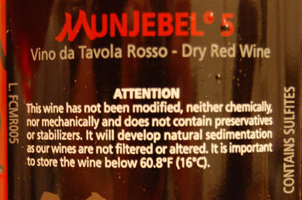 A wine label from Frank Cornelissen, who makes wine on Mt. Etna in Sicily, as shown on Jeremy Parzen's blog Do Bianchi.