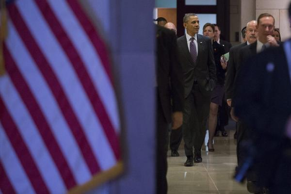 President Obama arrives for a meeting on Capitol Hill.