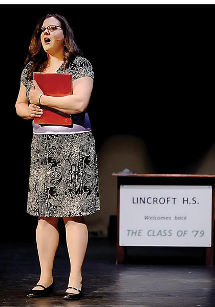 """Sera Drevenak sings in a scene of """"High School Reunion The Musical"""" during a rehearsal at Apollo Theatre in Martinsburg, W.Va. The show concludes this weekend."""