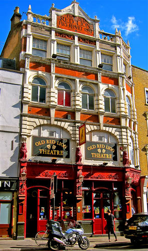 The Old Red Lion  is part of a London theatrical tradition that dates back to Shakespeare's days -- tiny theaters tucked into a pub's spare room.