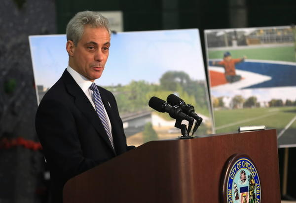 Mayor Rahm Emanuel speaks about investments in Chicago parks and recreational spaces at Harrison Park Field House in Chicago, Thursday, March 14, 2013. He announced a plan to have hundreds of playgrounds rebuilt throughout the city. They plan on having 50 playgrounds rebuilt throughout the city.