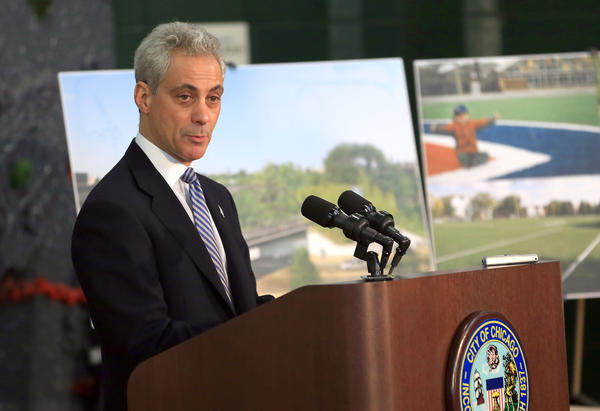 Mayor Rahm Emanuel speaks about investments in Chicago parks and recreational spaces at Harrison Park Field House.