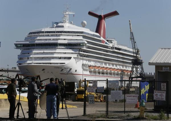 Pictured above, the Carnival Triumph, which lost power in the Gulf of Mexico in February.