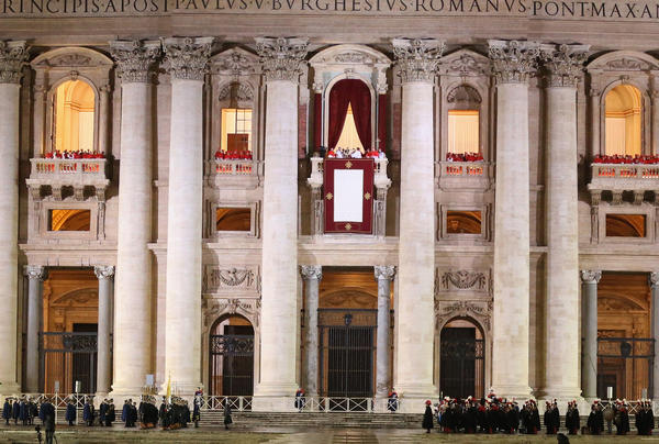 Newly elected Pope Francis I appears on the central balcony of St Peter's Basilica on Wednesday in Vatican City, Vatican.