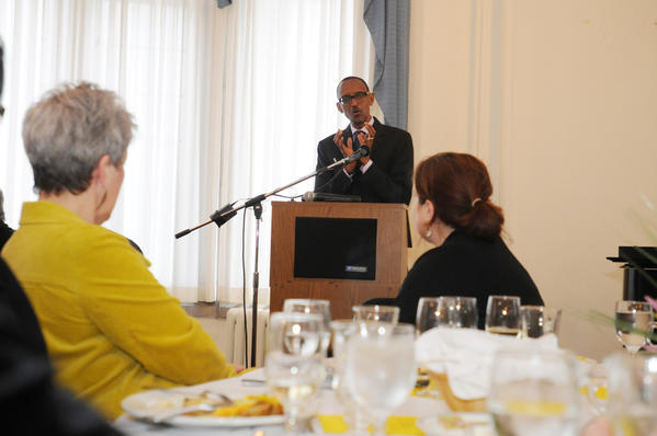 Rwanda's  President Paul Kagame met with government and business leaders at a luncheon at St. Thomas Seminary in Bloomfield in March. Here he talks to those in attendance.