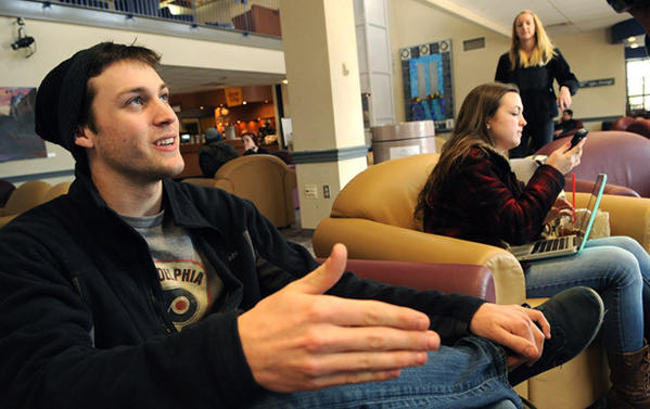 Charles Hess, 20, a junior at Kutztown from West Grove, Pa., talks about his feelings on campus safety in the student union building.     For the third time in less than a week, a Kutztown University student was assaulted and robbed, authorities said.