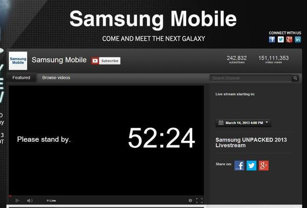 Samsung will unveil the Galaxy S 4 this afternoon and will stream the announcement on YouTube.