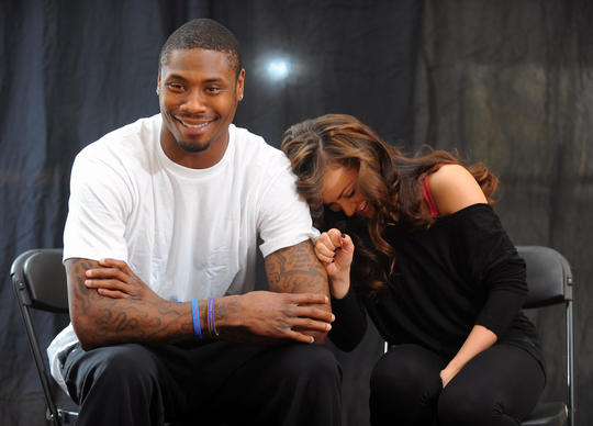 "Baltimore Ravens' Jacoby Jones, left, is pictured with dance partner Karina Smirnoff as they are in town to prepare for their March 18th ""Dancing with the Stars"" debut."