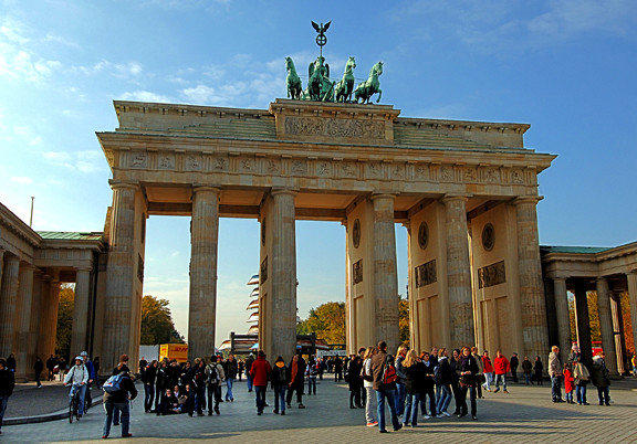 The Brandenburg Gate in Berlin, rebuilt in the late 18th century as a triumphal arch, is a well-known German landmark.