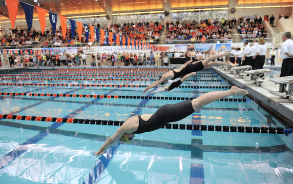 (Closest Swimmer) Bethlehem Catholic's Sydnee Karam at the start of the 2A girls 100 yard freestyle in the PIAA Swimming and Diving Championships held at Bucknell University on Thursday.