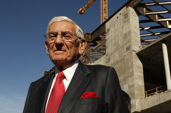 Philanthropist Eli Broad is seen at the topping-out ceremony commemorating the placement of the steel beams in the framing of The Broad Museum located at the corner of Grand Avenue and Second Street.