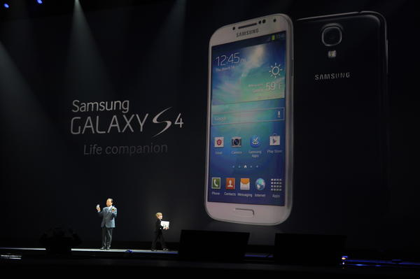 Samsung executive JK Shin unveils the Galaxy S4 smartphone at Radio City Music Hall in New York.