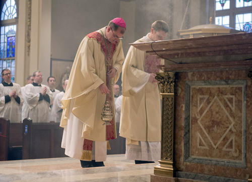 Diocese of Allentown Bishop John Barres celebrates a Mass of Thanksgiving in honor of Pope Francis at the Cathedral of Saint Catharine of Siena in Allentown on Thursday.