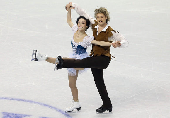 Meryl Davis and Charlie White in Thursday's short dance at the World Championships.