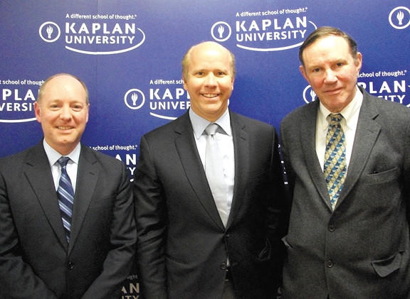 From left,  W. Christopher Motz, president of Kaplan University-Maryland locations; U.S. Rep. John Delaney; and Don Graham, chief executive officer and chairman of The Washington Post Co.