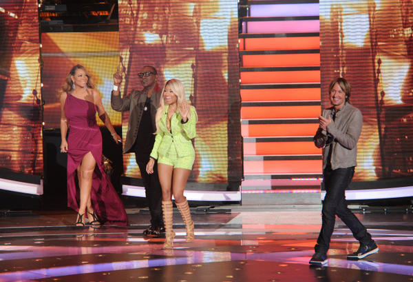 "Mariah Carey, Randy Jackson, Nicki Minaj and Keith Urban on ""American Idol."""