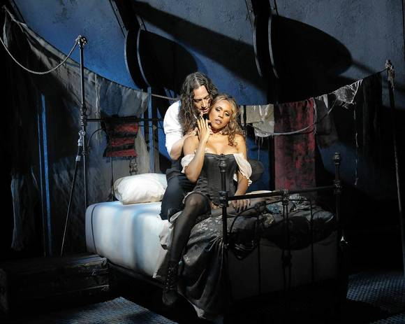 "Constantine Maroulis as Edward Hyde and Deborah Cox as Lucy in ""Jekyll & Hyde."""
