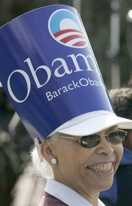 Nita Jones of Inglewood shows her Obama support during the rally.