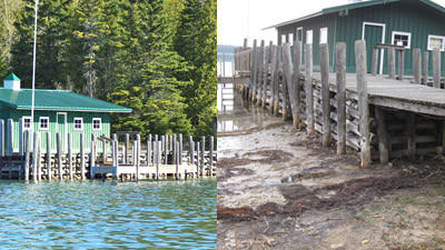 The same boathouse is pictured in the Les Cheneaux Islands in the spring of 2012 (on left) and fall of 2012 (on right). During October, the islands lost a foot and a half of water.