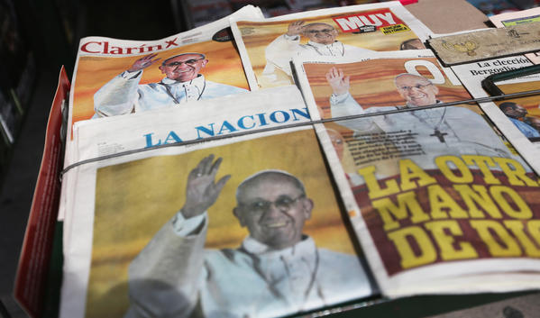 A newsstand in Buenos Aires displays copies of papers heralding the election of Pope Francis.