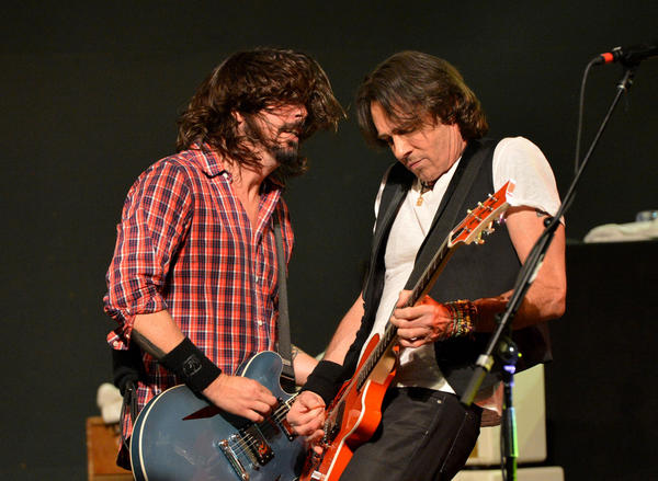 Dave Grohl, left, and Rick Springfield perform at Citi Presents Sound City Players Live at SXSW at Stubb's.