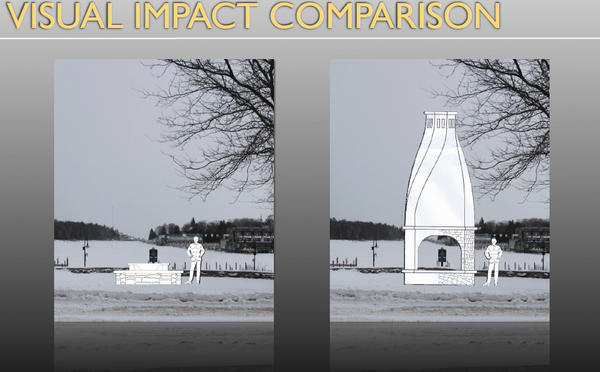 This illustration, created by consultants Mark Buday and Richard Hitz, shows the difference in view impact between the orignally-proposed and recently revised designs of a community fireplace project in Charlevoix's East Park.