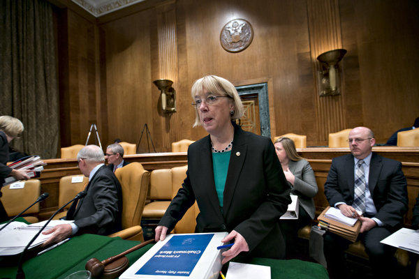 Sen. Patty Murray (D-Wash.), chair of the Senate Budget Committee, prepares for the committee to debate her proposed budget resolution for fiscal 2014 on Capitol Hill on Thursday.